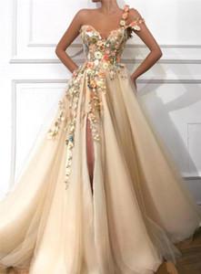 Maxi Evening Dresses Womens Sexy Split Womens Dress Womens Designer Party Dress One Shoulder Lace Applique