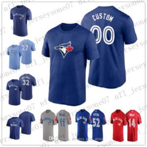 Camiseta de encargo para hombre de las mujeres jóvenes Toronto BlueJays14 Tanner Roark 32 Roy Halladay blanco Fin auténtico azul 2020 Jersey