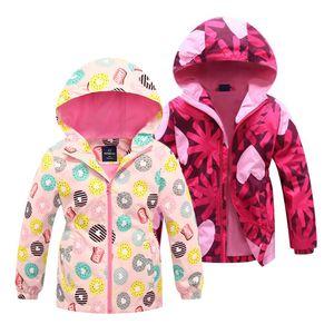 Windproof Girls Jacket Spring Autumn Children's Flower Clothes Girls Coat Kids Polar Fleece Windbreaker Outerwear Hooded 3-12 Y