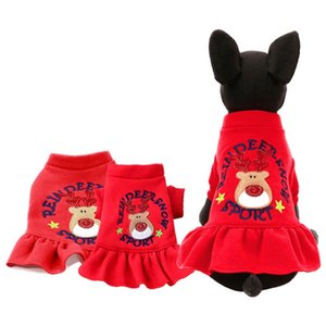 New Christmas Deer Pet Dog Clothes Dress Cute New Year Fashion Red Puppy Small Animals Clothes Puppy Dot Skirts Costume x
