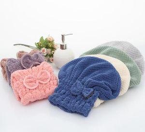 Bow-knot Shower Cap Microfiber Hair Drying Towel Head Wrap Absorbent Shower Caps Coral Velvet Bathing Cap Wet Hair Gift for Women LSK191