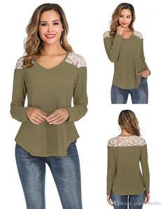 Sleeved Waffle Tops Loose Female Clothing Fashion Designer Women T Shirts Lace Patchwork T Shirt V Neck Long