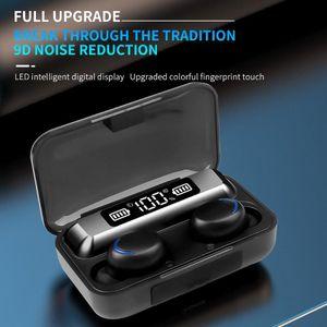 F9-5 TWS sem fio Bluetooth Earphones V5.0 9DStereo Esporte Headset Música LED Waterproof exibição Headphone com microfone Fro 11