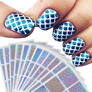 12 Sheets New Nail Art Sticker Set Hollow Irregular Grid Stencil Reusable Manicure Stickers Stamping Template Nail Art Tools 101
