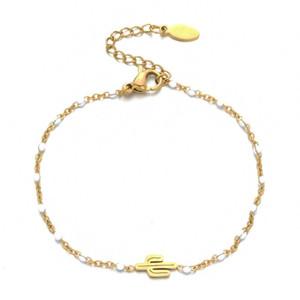 Мода Multicolor Бисер Цепи Браслет Золото из нержавеющей стали цепи Cactus браслет Подарок для Wemon прополка ювелирные изделия