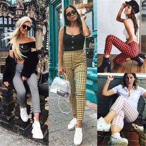 Dames Pantalons Crayon Mode Femmes Pantalons Designer Plaid Contraste d'impression couleur Femmes Pantalons Skinny Casual 2020