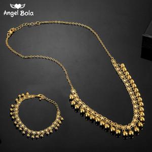 Нета Увядшей мусульманские арабский ислам ожерелье Длинные Золото бисер Цепь Турецкого Ближний Восток Браслет ювелирные изделия Set