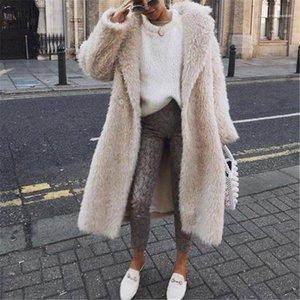 Thick Warm Jacket Coat Womens Open Stitch Outerwear Designer Patchwork Solid Color Winter Fur Coats Lapel Neck