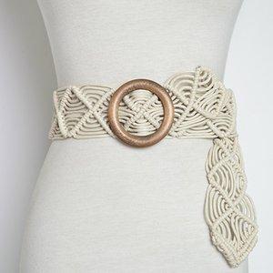 Vintage Wide Bohemian Belts For Women Round Wood Buckle Woven Braided Rope Belt Female Casual Crochet Boho Dress Waistband D41