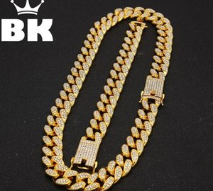 2cm HipHop Gold Color Iced Out Crystal Miami Cuban Chain Gold Silver Necklace & Bracelet Set HOT SELLING THE HIPHOP KING99