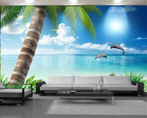 3d Seascape Wallpaper Home Decor 3d Wallpaper Beautiful Scenery of Beautiful Coconut Palm Dolphins Romantic Landscape 3d Mural Wallpaper