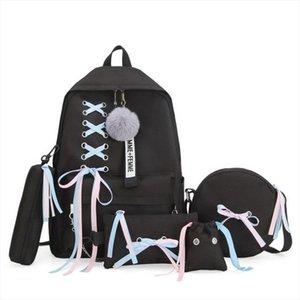 5pcs set School Bag for Teenage Solid Backpack 2019 Schoolbag Women Student Bag Lace Bow Bundle Backpack High Quality