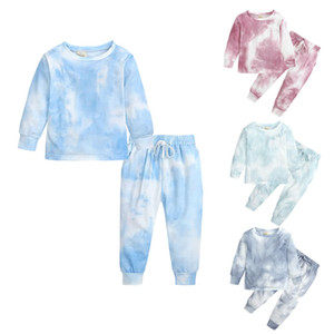Autunno Inverno Baby Boy Girl Ty Ty Dye Set Vestiti Christmas Children Bambini T-shirt Top + Pantalone 2PC Suit Bambino Boutique Outfit 2-8 Anno