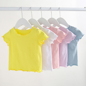 Newborn Baby T-shirts Solid Short Sleeves Spring Summer Korean style Unisex Baby Girls Boy Tops Infant T Shirt 0-2Y Infant Clothes