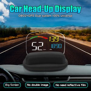 Car Head Up Display OBD2 GPS Dual System HD Mirror HUD with Reflection Board Security Alarm Speed Projector RPM Fuel Consumption