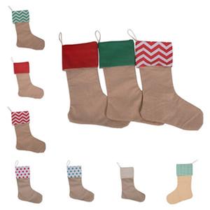 Bolsas de regalo de la media de Navidad Navidad de la Navidad de la Navidad de la Navidad de gran tamaño de la arpillera lisa calcetines decorativos bolsas Suministros de fiesta T2I51489
