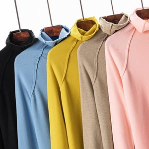 Hot Sale HLBCBG Fashion Turtleneck Warm Women Sweater High Neck Knitted Sweater Pullovers With Thumb Hole Fall Autumn Winter Jumper Top