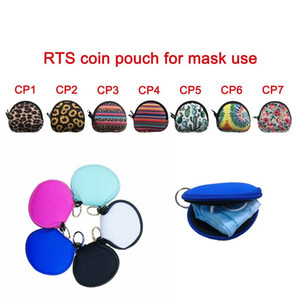 Neoprene Waterproof Zipped Coin Pouch Mask Holder Earbud Case with Keyring Earphone Pouch for Kids OWB1960