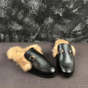 2020 новый Тапочки Принстон Fur Fur Тапочки Мулы Квартиры Сеть Дамы Повседневная обувь Женщины Мужские Мокасины Muller тапочка обувь Furry Слайды
