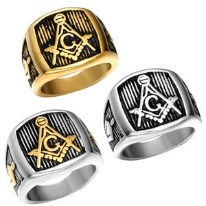 Casting titanium steel masonic ring personality punk restoring ancient ways Men's ring