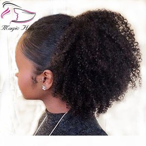 Evermagic afro kinky curly human hair ponytail extensions 70-120g drawstring human hair clip in ponytail Malaysian remy Hair