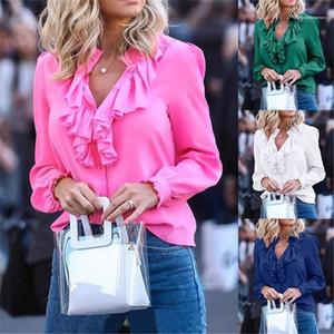 Women Clothing Spring Womens Chiffon Shirts Fashion Solid Color V Neck Long Sleeve Shirts with Ruffle Casual