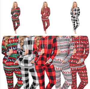Зимой женщины Рождество плед Elk Толстовка Set с капюшоном Блуза Топы Большой Карман Толстовка и штаны Tracksuit Winter Пижамы Одежда Set D9805