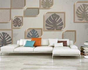 3d Geometric Wallpaper 3d Modern Wallpaper Geometric Golden Embossed Leaves Premium Atmospheric Interior Decoration Wallpaper