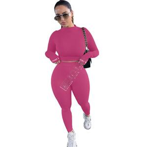 Kadınlar Eşofman Moda Katı Renk Seksi Uzun Kollu T Shirt sıkı Tops Pantolon Tayt İki adet Seti Kıyafetler Spor Suit D91602 Eşleştirme