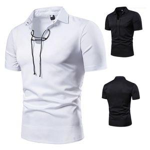 Polos Moda Doğal Renk Kısa Kollu Polos Casual teslimi Aşağı Yaka Polos Erkek Giyim Erkek Tasarımcı İpli Yaka