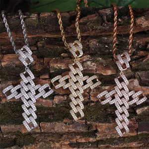 Pendant Necklace Jewelry Luxury Grade Quality Bling Zircon Necklaces Fashion Men 18K Gold Plated Geometric Cross Hip Hop Necklaces LN097