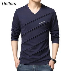 TFETTERS Marka Tişörtlü Erkekler kabartılmış Tasarım V-Yaka Uzun Kollu Tişört Artı boyutu tişört İnce Pamuk 0924 Tees Camisetas Erkek Tops