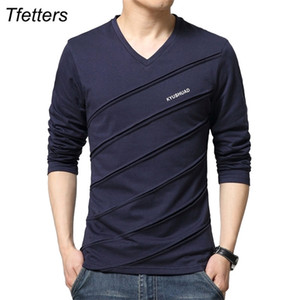 TFETTERS Marken-T-Shirt Männer Twill Entwurf V-Kragen Langarm T-Shirt plus Größen-T-Shirt Slim-Baumwolle übersteigt T-Stücke T-Shirt Männer 0924