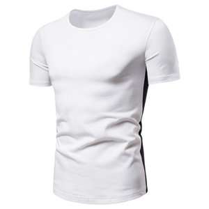 Slim Tees Mens Fashion T Shirt Designer Side Striped Natural Color T Shirt Casual Short Sleeve