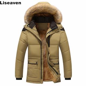 Tops marca de ropa Liseaven Parka hombres abrigos de invierno cálida chaqueta ocasional de los hombres Outwear Espesar con capucha de los hombres de