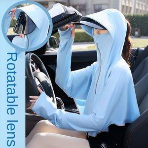 seda 2zI2k lente rotativa capa corta ropa de abrigo corto de bicicletas protector solar chal de ropa de hielo en bicicleta al aire libre de la conducción de ropa de protección solar
