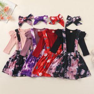 Vêtements pour enfants Vêtements de Noël Set Top manches longues Tie Dye jarretelle Jupe Bow bandeau 3 pièces d'usure de Noël Baby Girl Outfit