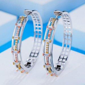 GODKI Jimbora Luxury Hollow Cool Punk Hoop Earrings For Women Earrings Jewelry Charms Elegant Full Mirco Cubic Zircon Dubai