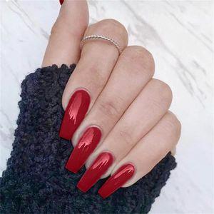 24Pcs Set Candy color Matte Full Cover False Nail Tips Ballerina Nail Art Manicure Matte Tips Coffin Fake Nails Extension
