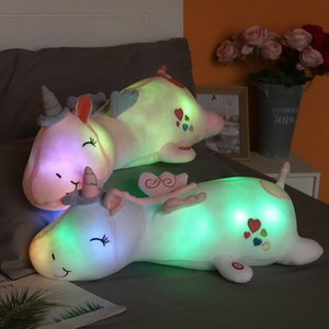 1pc 60CM Cute Glowing LED Light Unicorn Plush Toys Lovely Luminous Animal Unicorn Pillow Stuffed Dolls for Children Kids Gifts T200911