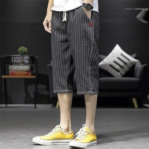 Summer Designer Plus Size Knee Length Pants Males Casual Street Style Short 5XL Mens Striped Print Shorts Teenagers