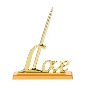 """1шт Wedding Подписывая Pen с """"Love"""" Holder Wedding Подпись Pen Set украшения Принадлежности для посетителей Book Home Decor"""