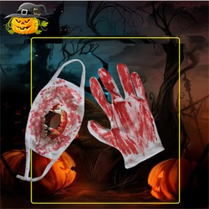 Halloween Decorations Mask Gloves Ghost Festival Decoration Props Horror Face Mask Denture With Blood Masks YJL55