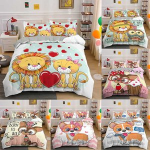Cartoon Bedding Set 2 3pcs Printed Duvet Cover Single Twin Queen King Size