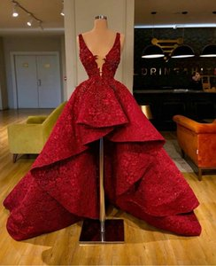 High Low Red Prom Dresses Ruffle Train Lace Sequined Deep V Neck Celebrity Dress robes de mariée Beads Luxury Evening Gowns