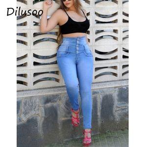 Dilusoo, hohe Taille Knopf Rohr elastisch 4 Saison Jeans, Büro Frauen Casual Hosen, dünne Hosen