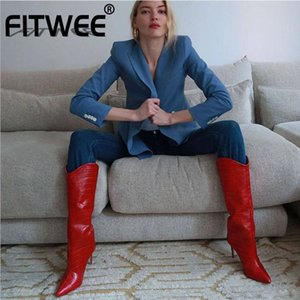 FITWEE Plus Size 34-43 Women High Heel Boots Thin Heel Stone Pattern Women Winter Knee High Boots Sexy Fashion