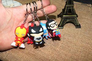 Muñeca Vengadores Llavero Capitán América Iron Man Superman Superman PVC Llavero de silicona 3D Llavero creativo colgante niños de juguete