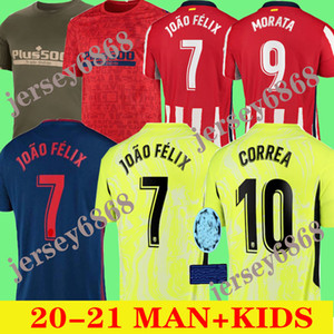 2020 2021 JOAO FELIX atletico madrid jérsei de futebol 20 21 crianças camiseta de fútbol M.LLORENTE MORATA SAUL KOKE Diego Costa camisas do futebol
