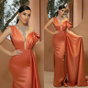 2020 Elegant Evening Dresses Jewel Beads Mermaid Prom Gowns Custom Made with Overskirt Sweep Train Satin Special Occasion Dress